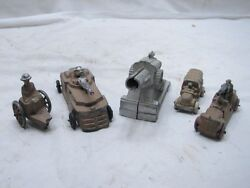 Lot Early Barclay Manoil Wwii Toy Lead Soldier Cars Tank Cannon Truck Gunner F