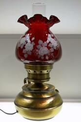 Fenton Lamp Colonial Hammered Roses On Ruby 7311rd Freeusaship 48 States Only
