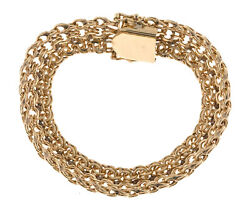 Vintage Double Spiral Link Three Row 14k Gold Bracelet Stamped Cbs 7 1/2 Inches