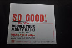 Double Your Money Back - Wheatsworth Cereal Display Sign Nabisco