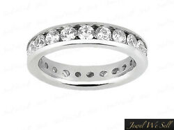 2.85ct Round Cut Diamond Classic Channel Eternity Band Ring 14k White Gold I Si2