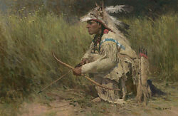 Z. S. Liang Hunting The River Bank Native American Mw Giclee Canvas 1/25