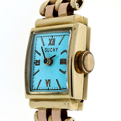 Retro Art Deco 14k Pink And Green Gold Watch Ice Blue Dial