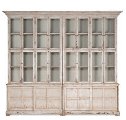 French Country Glass Front Bookcase Library Cabinet Pine Wood121'' x 106''H