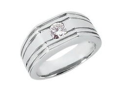 3/4ct Round Grooved Solitaire Mens Wedding Band Ring 14k White Gold H Si2 Bezel