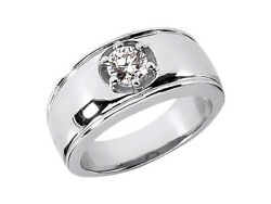 Genuine 0.35ct Round Solitaire Mens Wedding Band Ring 950 Platinum H Si2 Prong