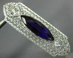 Antique Large 4.07ct Diamond And Amethyst 14k White Gold Filigree Pin Brooch 22118