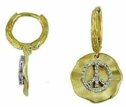 .18ct Diamond 14kt Yellow Gold 3d Flower Peace Sign Round Hanging Earrings