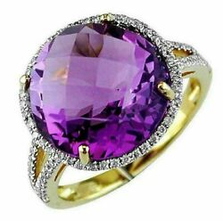 Large 10.02ct Diamond And Aaa Amethyst 14kt Yellow Gold 3d Round Halo Fun Ring