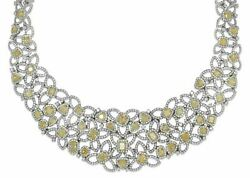 EXTRA LARGE 41.31T WHITE & FANCY YELLOW DIAMOND 18K 2 TONE GOLD FLOWER NECKLACE
