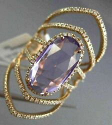 Estate Extra Large 5.0ct Diamond And Aaa Amethyst 14kt White Gold Oval Flower Ring