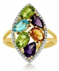 2.90ct Diamond And Aaa Multi Color Gem 14kt Yellow Gold 3d Marquise Shape Fun Ring