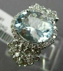Large 2.92ct Diamond And Aaa Oval Aquamarine 14k White Gold Flower Engagement Ring