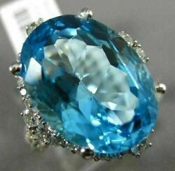 Extra Large 16.75ct Diamond And Aaa Oval Blue Topaz 14kt White Gold Halo Fun Ring