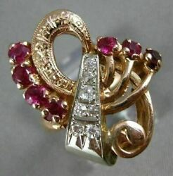 Antique Large 1.35ct Old Mine Diamond And Aaa Ruby 14k White And Rose Gold Love Ring