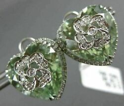 Estate Extra Large 18.51ct Diamond And Aaa Green Amethyst 18kt White Gold Earrings