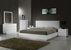 Naples White Bedroom Set In King Size By Jandm Furniture - 5 Pieces