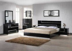 Lucca Bedroom Set In Black Finish By Jandm Queen Size 5 Piece