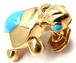 Rare Authentic 18k Yellow Gold Turquoise Turtle Tie Lapel Pin