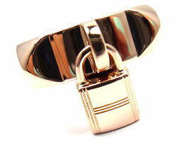 Authentic Hermes 18k Rose Gold Collier De Chien Lock Band Ring Size 49 Us 4 3/4