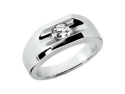 Natural 0.50ct Round Solitaire Mens Wedding Band 18k White Gold G Si1 Channel