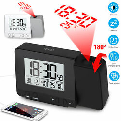 Gift Dimmable Digital LED Projection Weather Snooze Alarm Clock Radio Timer USB