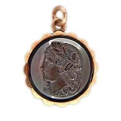 Vintage Carved Face Carnelian Onyx 14k Pink Gold Pendant Layer Black And White Bac