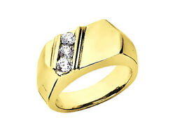 Genuine 0.45ct Round 3stone Mens Wedding Band Ring 18k Yellow Gold F Vs2 Channel