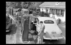 Vintage Gulf Gas Station Photo 1940s Service Station Oil Cans Attendant New York