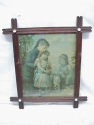Antique Memorial Day Mother Girls Print Adirondack Wood Frame Porcelain Buttons