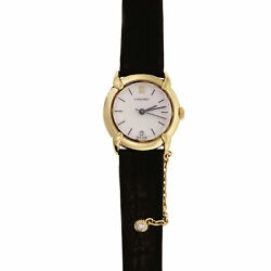 Chaumet Ladies Watch Mother Of Pearl Dial Black Strap 18k Yellow Gold