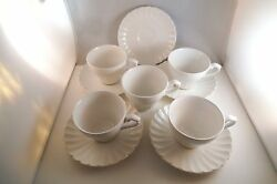 Vintage J And G Meakin England Classic White Set Of 5 Cups And Saucers