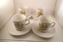 Vintage Royal Warwick Made In England Sunflower Set Of 4 Cups And Saucers