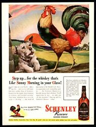 1944 Schenley Reserve Whisky Old English Game Rooster Ad Sealyham Terrier