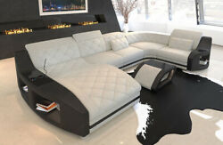Fabric Sectional Sofa Palm Beach U Shape Designer Couch with LED Light