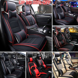 Deluxe Edition Pu Leather Seat Covers Front Rear Cushion+pillows For Car 5 Seat