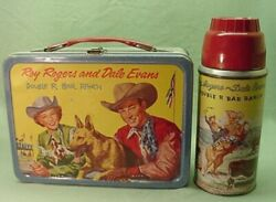 Vintage 1957 Roy Rogers Dale Evans Trigger Double R Bar Ranch Lunch Box And Ther