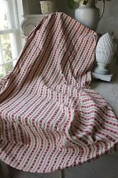 Antique Chair Slipcover French Fabric Early 1900and039s Ticking Red Striped Textile