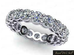 3.6ct Round Diamond Shared Prong Gallery Eternity Band Ring 18k White Gold H Si2