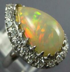 Antique Large 2.75ct Diamond And Aaa Opal 14kt White Gold 3d Pear Shape Ring 1049