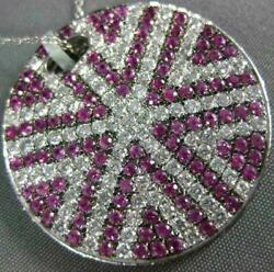 Large 3.71ct Diamond And Aaa Pink Sapphire 18kt White Gold Round Star Love Pendant