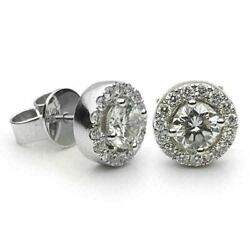 Estate 1.96ct Diamond 18kt White Gold 3d Classic Round Halo Stud Earrings