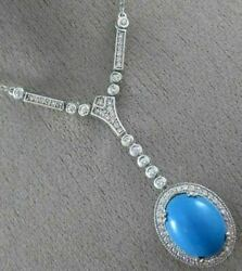Antique 5.80ct Diamond And Aaa Turquoise 14k White Gold Halo Etoile Necklace 21870