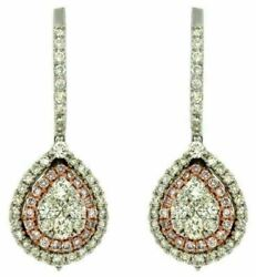 Estate 1.20ct White And Pink Diamond 14kt White Rose Gold Cluster Hanging Earrings