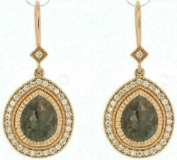 Estate Large 3.10ct White And Chocolate Fancy Diamond 18kt Rose Gold 3d Earrings