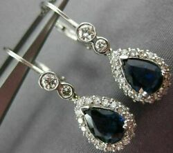 Antique 2.04ct Diamond And Aaa Sapphire 14kt White Gold 3d Hanging Earrings 18254