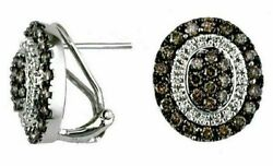 1.34ct White And Chocolate Fancy Diamond 14kt White Gold 3d Oval Clip On Earrings