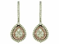 Estate 1.46ct White And Pink Diamond 14kt Two Tone Gold 3d Flower Hanging Earrings