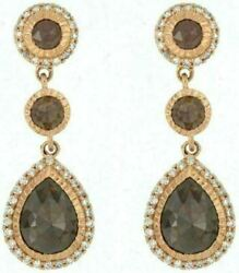 Estate Large 4.20ct White And Chocolate Fancy Diamond 18kt Rose Gold 3d Earrings
