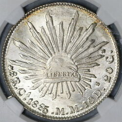 1885-ca Ngc Ms 64 Mexico 8 Reales Mint State Silver Coin 18122901c